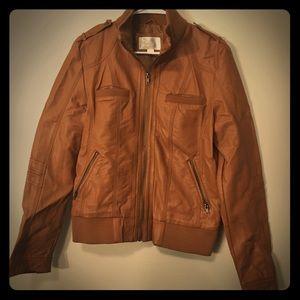 Xhilaration Tan Faux Leather Bomber-style jacket